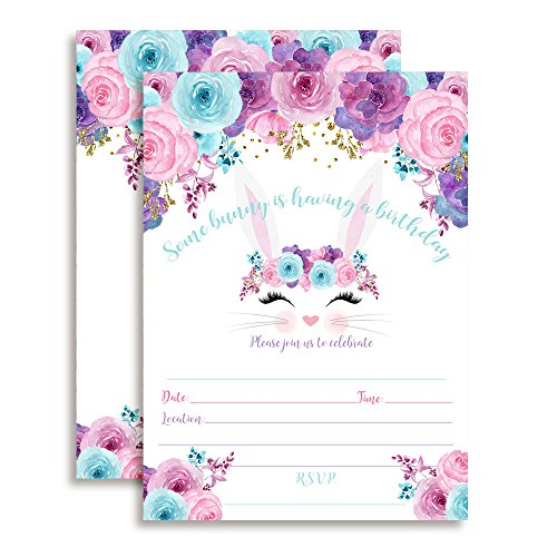 Flower Creation (Bunny Face with Pink Blue and Purple Watercolor Flowers Easter Birthday Party Invitations for Girls, 20 5
