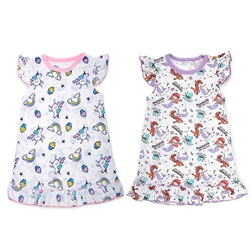 BUNNIEE Nightgown for Girls Unicorn Mermaid Nightshirt Pajamas