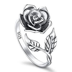 Rose Flower Ring for Women S925 Oxidized Sterling Silver Adjustable Wrap Open Rings Mother's Day
