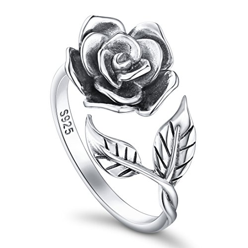 - ALPHM Rose Flower Ring for Women S925 Oxidized Sterling Silver Adjustable Wrap Open Lotus Spoon Rings 6