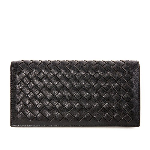 Badiya Couples Men/Women Hand Woven Black Bifold Leather Wallet Card Hold - Black Hand Leather Woven
