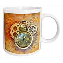 3dRose mug_212827_1 A Steampunk Theme with Metal Cogs, Gears and a Lovely Golden Pocket Watch Ceramic Mug, 11 oz, White
