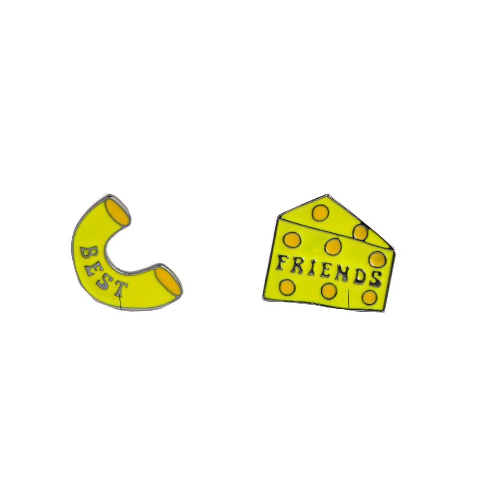 Pins Set of 2 macaroni & cheese block pins Best friends pins Cute funny mac and cheese bff