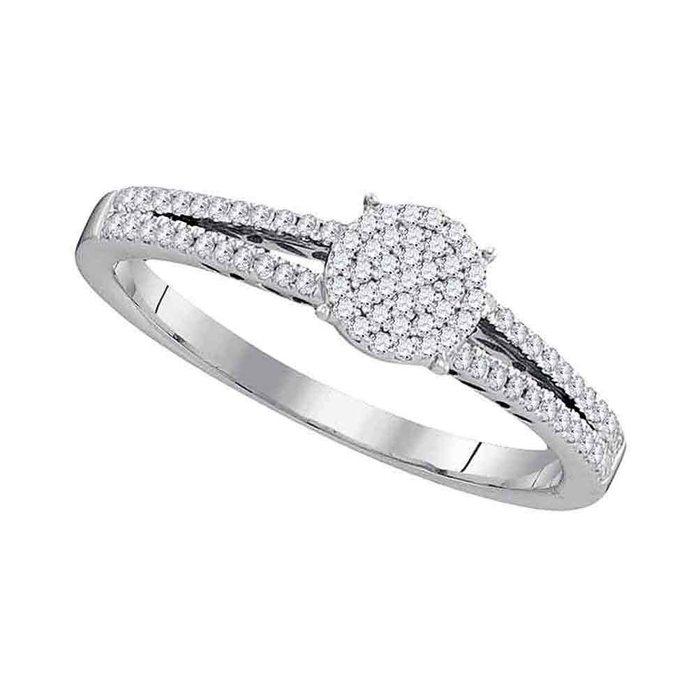 10kt White Gold Womens Round Diamond Circle Cluster Ring 1//5 Cttw
