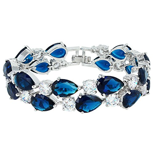 EVER FAITH Women's Prong Cubic Zirconia Vintage Style Dual Layer Tear Drop Bracelet Blue Silver-Tone