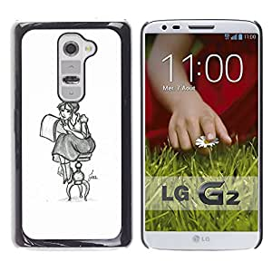 GOODTHINGS Funda Imagen Diseño Carcasa Tapa Trasera Negro Cover Skin Case para LG G2 D800 D802 D802TA D803 VS980 LS980 - lápiz chica dibujo arte artista sentado falda larga