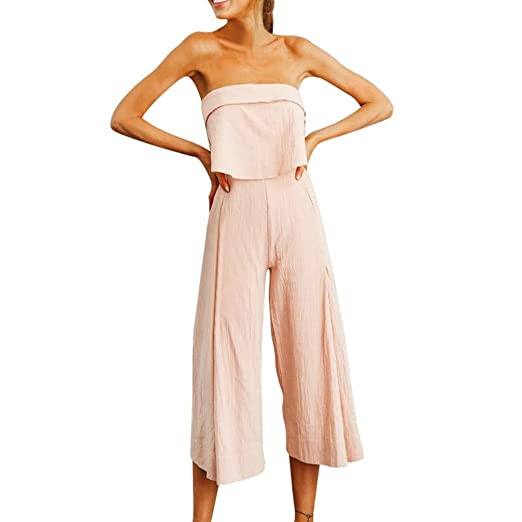 77b388239bb0 vermers Clearance Sale Womens Off Shoulder Rompers Lady Summer Holiday  Solid Long Trouser Playsuits Jumpsuits(