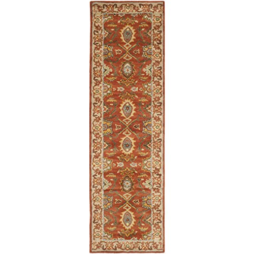 Safavieh Heritage Collection HG734D Handcrafted Traditional Oriental Rust and Beige Wool Runner (2