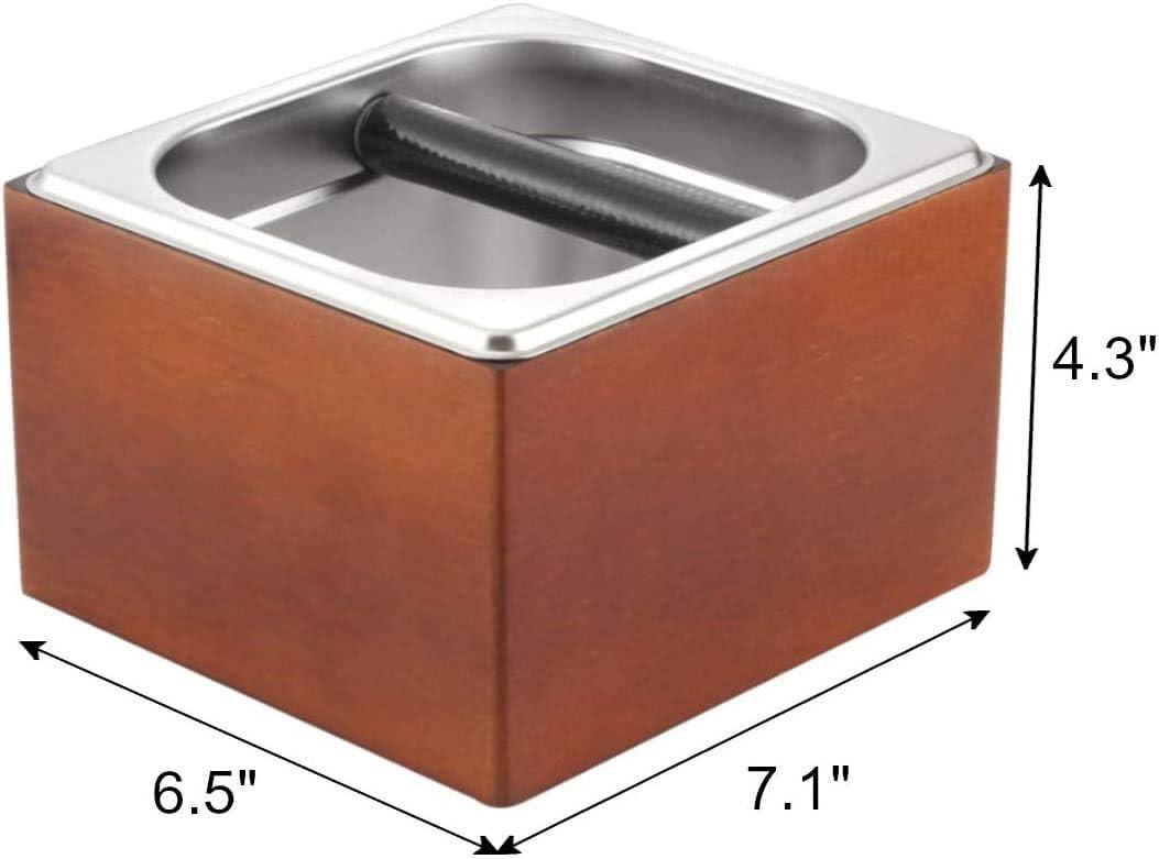 Jacksking Coffee Knock Box Acero Inoxidable Coffee Grounds Pulpa Contenedor Caf/é expr/és Cubo de Basura Contenedor de Basura con Mango
