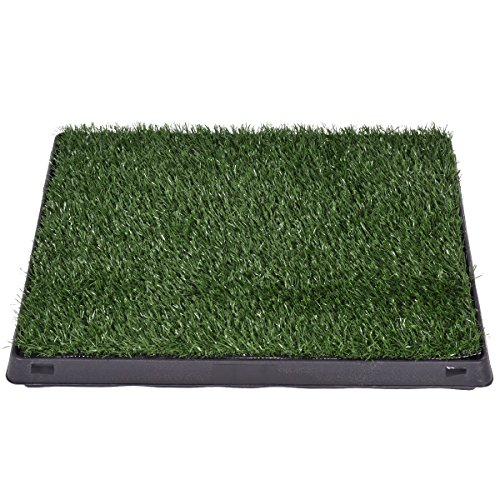 Green-Black Artificial grass(PE)+Plastic Pet Potty Dog Training Pad With Ebook
