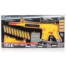 Foam Dart Gun & Water Ball Blaster Spring Powered Toy - Night Hawk M16+ Water Polymer Ball Shooting Gun, 10 Suction Darts, Clear Eco-Friendly Polymer Pellets, USA Warranty 100% Guarantee