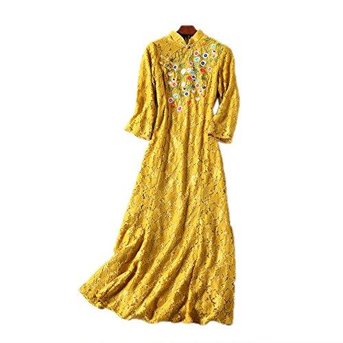 Robes De Sirène Brodée Cotylédons Pour Les Femmes Cou Col À Manches 3/4 Robes Maxi Slim Fit Jaune