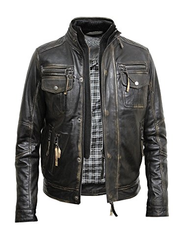Brandslock Men's Vintage Leather Biker Jacket distressed leather motorcycle jacket ►BEST SELLER◄ (Large fits chest 40-42 inches, Vintage Black)