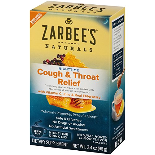 Zarbee's Naturals Cough & Throat Relief Nighttime Drink Mix with Vitamin C, Zinc, Real Elderberry, Natural Honey Lemon Flavor, 6 Packets