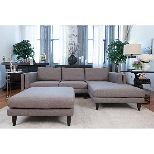 Retro Fabric Collection 2-Piece Left Facing Loveseat Sectional and Cocktail Ottoman in