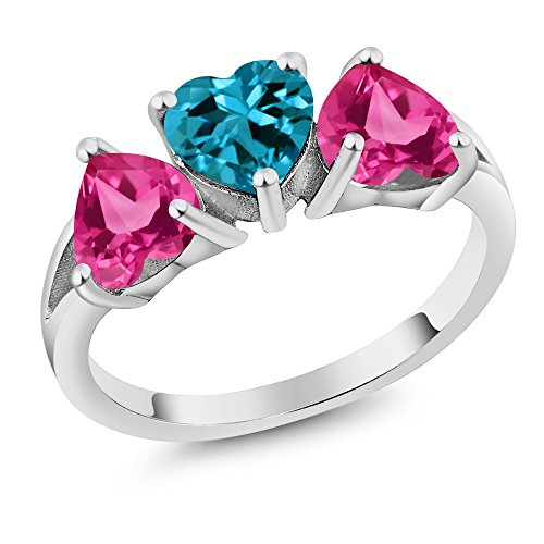 2.55 Ct London Blue Topaz Pink Created Sapphire 925 Sterling Silver 3-Stone Ring (Size 6)
