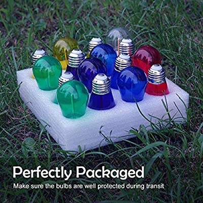 JSLINTER Colored String LED Light Bulbs - 1 watt Plastic Outdoor Indoor S14 Bulbs for Christmas String Light Replacement - Shatterproof - E26 Base - 16Pack - Red/Blue/Yellow/Green/Violet