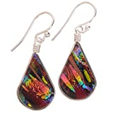 Rainbow Falls Earrings - Nickel Smart - Rainbow Red Dichroic Glass Nickel Free Dangle Earrings