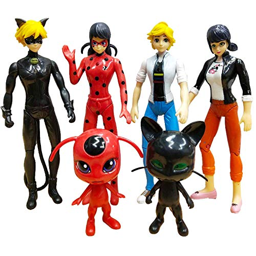 Vitadan 6pcs Ladybug Action Figure - Ladybug and cat Noir Miraculous Action Figures - Miraculous Ladybug Toy Set Minifigures - Ladybug Tikki Dolls 6 Set - Miraculous Toys