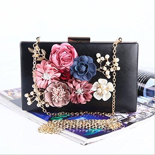 Chichitop Women's Flower Evening Clutch Purse Bag Pearl Beaded Prom Wedding Evening Handbags, (Satin Pearl Money Bag)