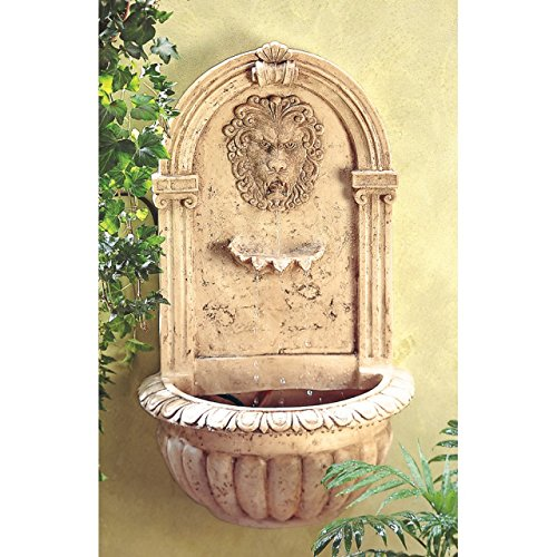 (Garden Relaxation Fountain Lion Sculpture Waterfall Statue Wall Mounted Outdoor Water Pump Ornament Feng Sui Decorative)