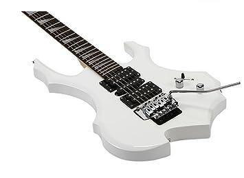 Genuino blanco azul rojo y negro llama guitarra eléctrica doble batido en forma de juego de guitarra eléctrica sintonizador (Color : Blanco) : Amazon.es: ...