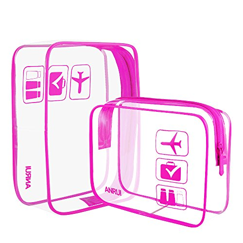 Anrui TSA Approved Toiletry Bag Clear Travel Carry-On Compliant Organizer For Women Men Kids (2pcs/Pack)