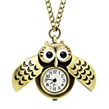 LightOnIt Vintage Cute Flying Owl Pocket Watch Pendant Long Chain Sweater Necklace for Kids Lady Gift