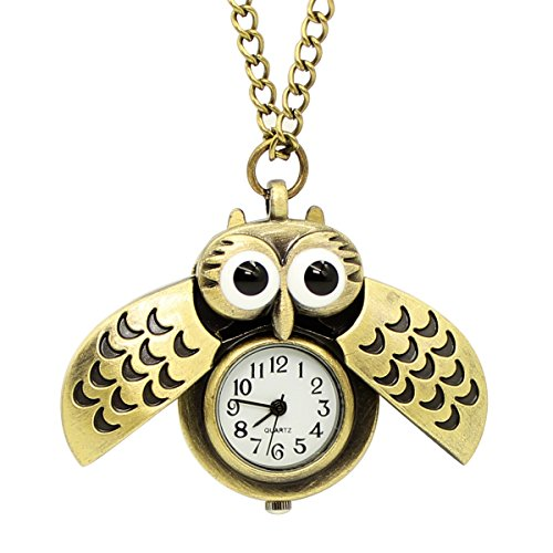 te Flying Owl Pocket Watch Pendant Long Chain Sweater Necklace for Kids Lady Gift (Cute Button Necklace)