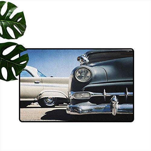 (RenteriaDecor Vintage Car,Printed Floor Mats American Classic Old Style Fifties Auto Wheels Transportation History Art Print 36