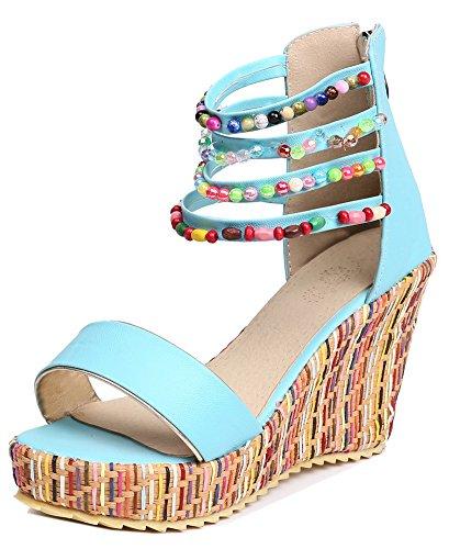 Easemax Bleu Spécial Sandales Perles Compensé Style Femme Bohémien Talon r186WrZq