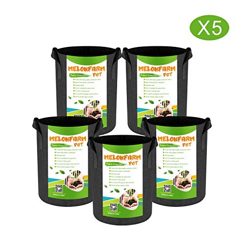 MELONFARM 5-Pack 2 Gallon Plant Grow Bags - Smart Thickened Non-Woven Aeration Fabric Pots Container with Strap Handles for Garden and Planting