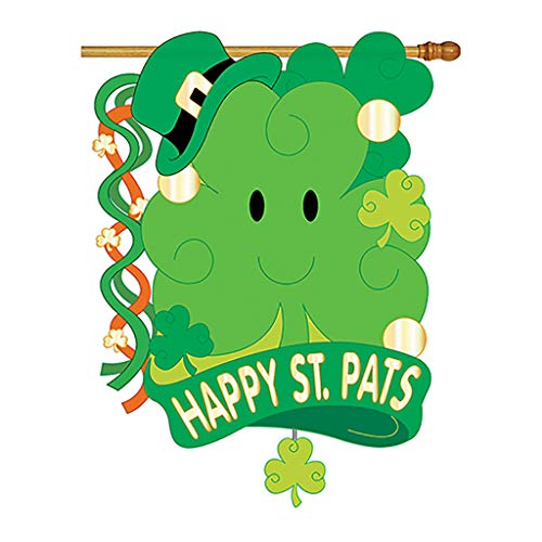 Two Group - St. Pat's 3D Spring - Seasonal St Patrick Applique Decorative Vertical House Flag 28