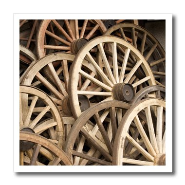 3dRose ht_69817_3 Japan, Gifu, Takayama, Antique Wagon Wheels-John and Lisa Merrill-Iron on Heat Transfer for Material, 10 by 10-Inch, ()