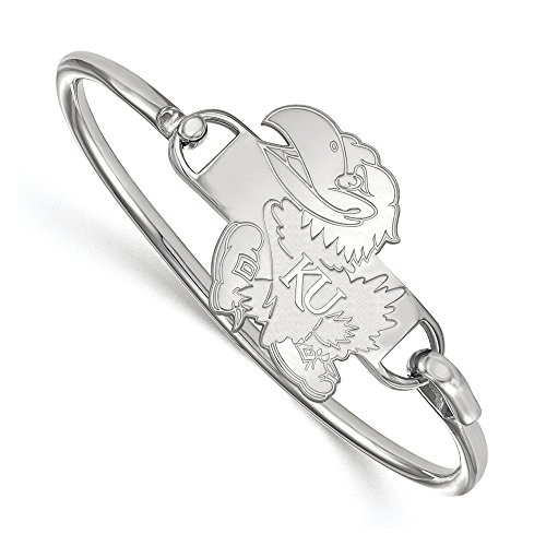 NCAA Sterling Silver University of Kansas Bangle, 6 inch by LogoArt
