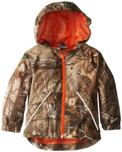 Carhartt Little Boys' Packable Work Camo Hooded Rain Jacket, Real Tree Brown, XX-Small/4/5