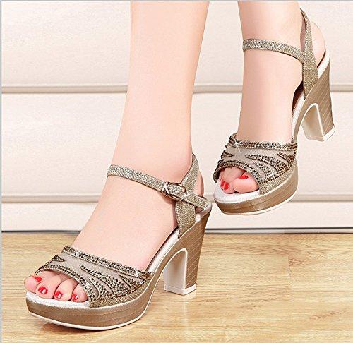 GTVERNH-nudo 7.5cm sandali donna summer spessa con bocca di pesce solo scarpe impermeabili tacchi una parola della signora sandali.,35 Thirty-six