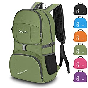 Bekahizar Lightweight Backpack 35L Hiking Daypacks Water Resistant Travel Day Bag Foldable and Packable for Outdoor Camping Walking Cycling Sports Day Trips (Updated Green)