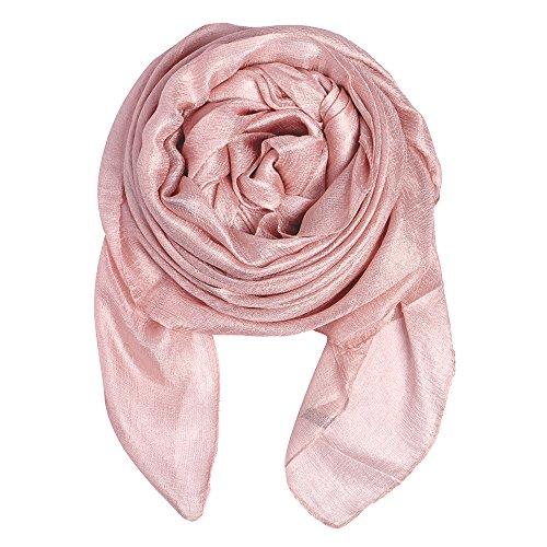 QBSM Womens Large Soft Silky Bridal Evening Wedding Party Wrap Scarf Shawl Pink
