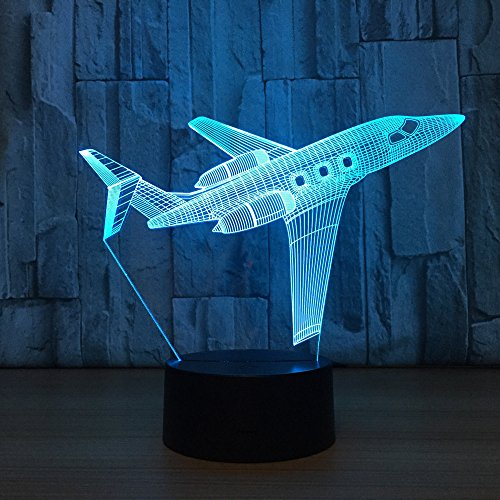 3D Visual Airplane Night Light Aircraft LED Desk Lamp 7 Color Change USB Powered or Battery Powered Plane Toy Table Light Decoration Birthday Christmas Festival Gift for Kid and Adult Plane enthusiast