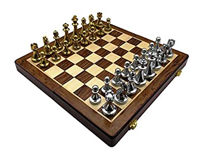 "12"" Portable Travel Chess Set, Golden & Silver Color Metal Chess Pieces, Folding Wooden Chessboard Interior Storage"