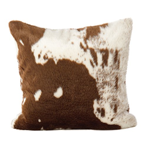 "SARO LIFESTYLE Lait Design Urban Faux Cowhide Poly Filled Pillow, 18"", Brown"