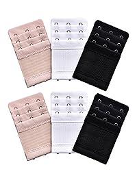 Bememo 6 Pieces Women's Bra Extenders Elastic Stretchy Bra Extension Strap, 3 Colors