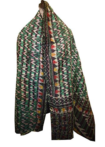 Quilted Multi Circle - Vintage Silk Quilted Kantha Fine Circle Work Stoles Reversible Hijab Scarf 19