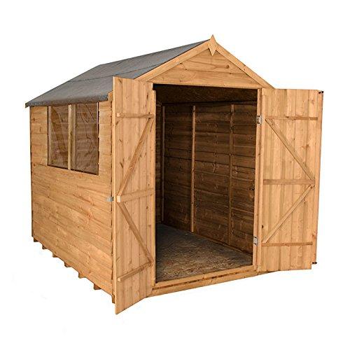 8 x 6 de madera solapada - Cobertizo de jardín doble puerta: Amazon.es: Jardín