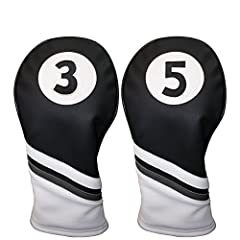 Featuring Majek Golf Vintage Golf Head covers. Center Elastic band ensures that the Head cover will stay on your fairways even when your golf cart is bouncing on the cart path. The PU Leatherette exterior and plush interior will guarantee you...