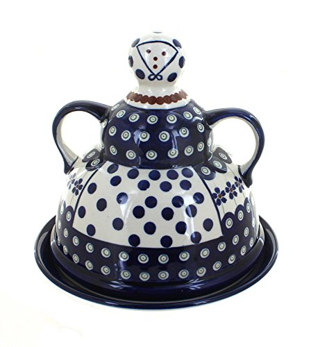 OKSLO Polish pottery flowering peacock cheese lady
