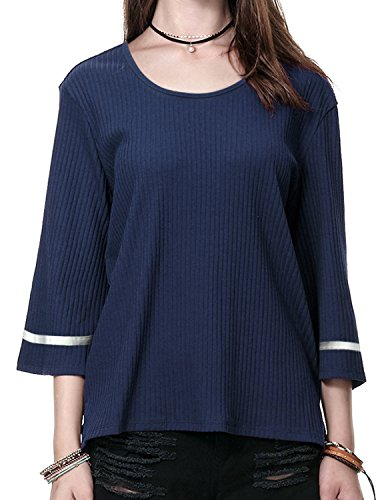 Regna X BOHO for womens round neck oversize wear with jeans navy small 3 4 bell sleeve striped ribbed sweater knit tops