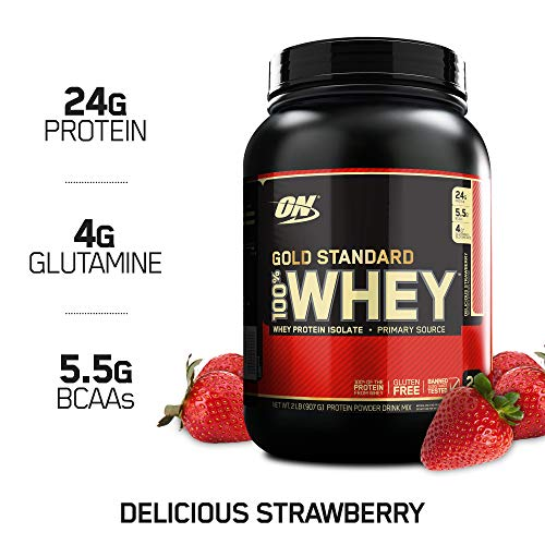 Optimum Nutrition Gold Standard 100% Whey Protein Powder, Delicious Strawberry, 2 Pound (Gold Standard Whey Protein Before Or After Workout)