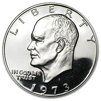 1973 S US Eisenhower Proof Silver Dollar Brown Box